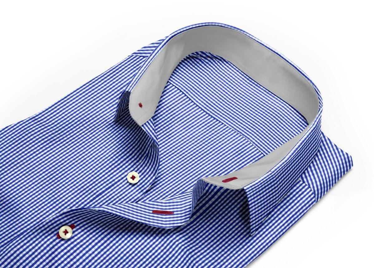 Chemise mini col bleu, bleu foncé, Blanc popeline