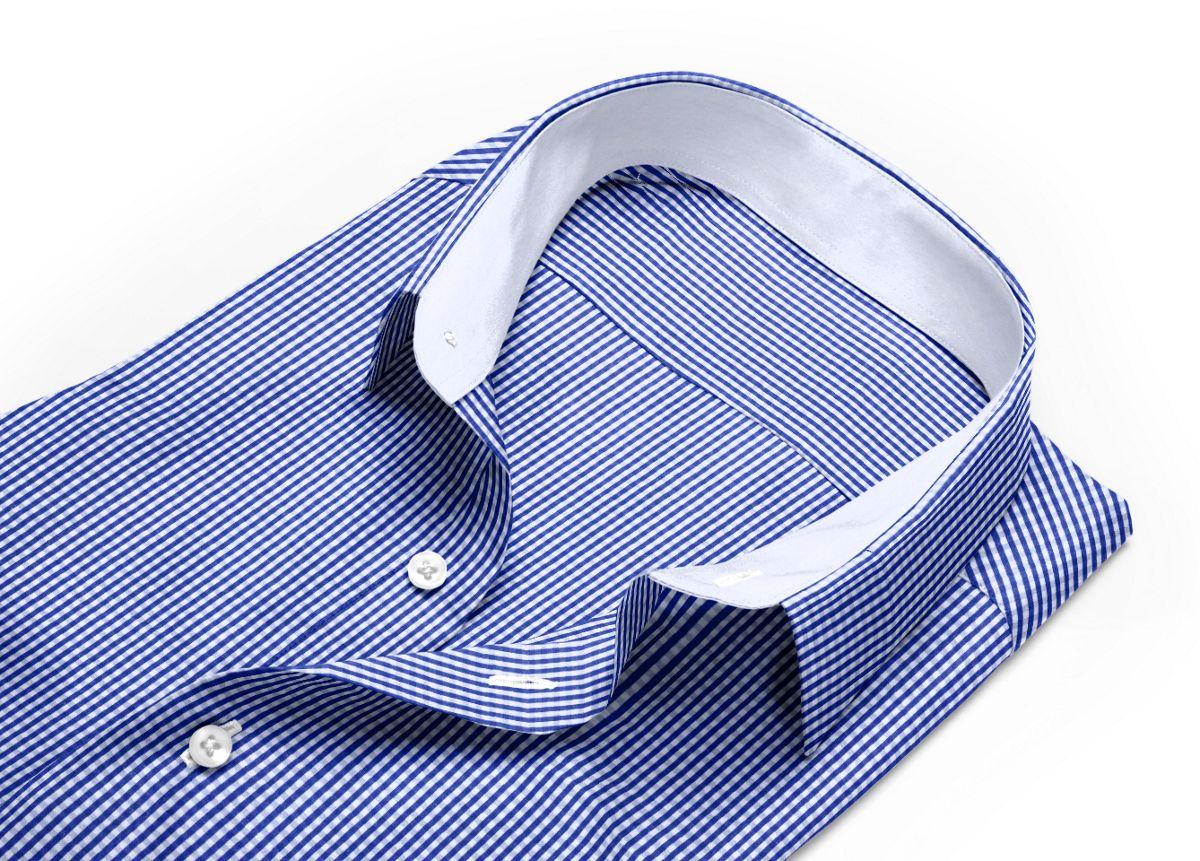 Chemise homme sur mesure mini col bleu, bleu foncé, blanc carreaux