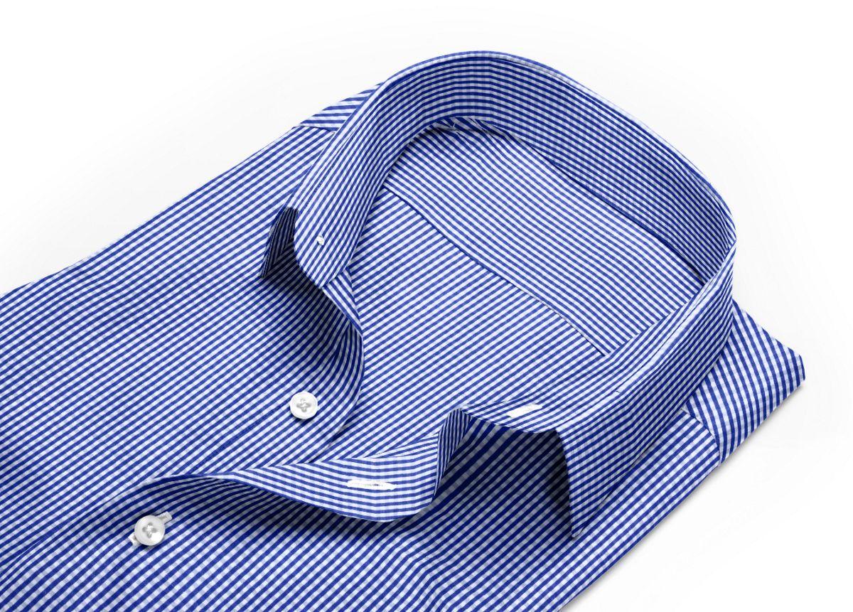 Chemise homme sur mesure col italien bleu, bleu foncé, blanc carreaux