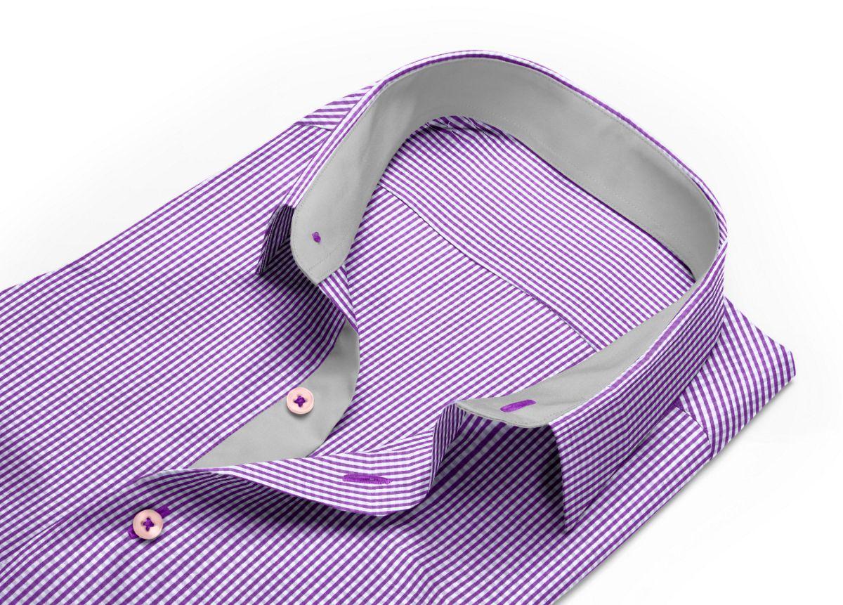Chemise homme sur mesure col boutonné violet, blanc carreaux