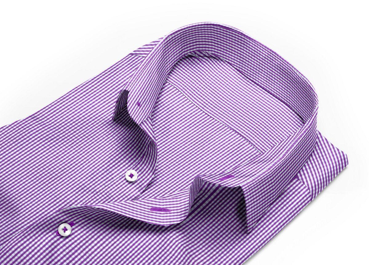 Chemise homme sur mesure col classique violet, blanc carreaux