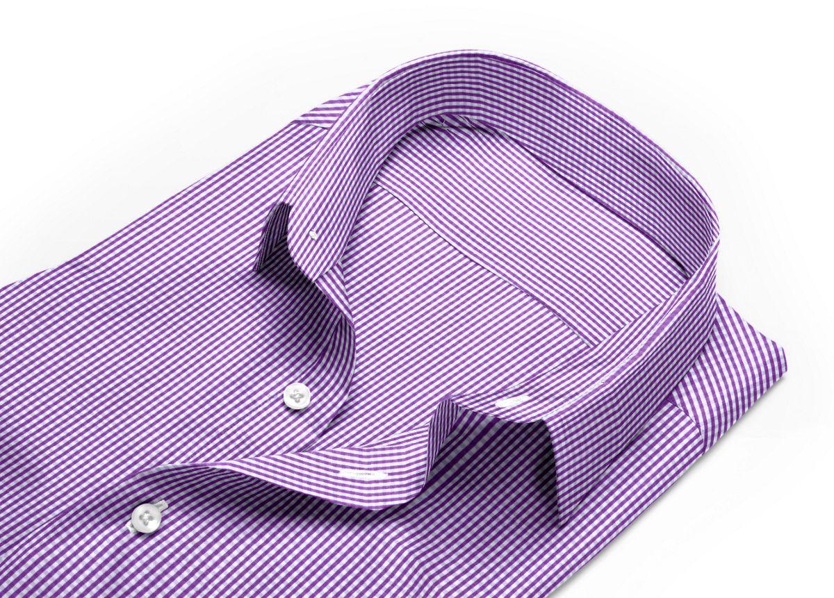 Chemise homme sur mesure petit col classique violet, blanc carreaux