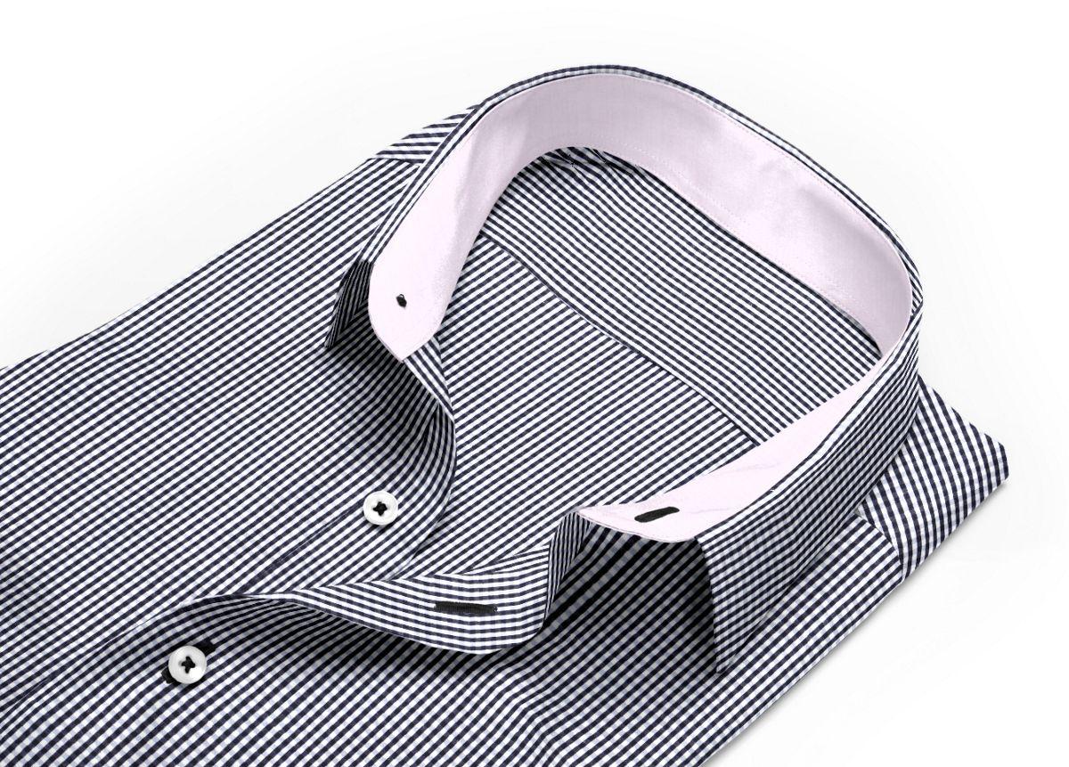 Chemise homme sur mesure col rond noir, blanc carreaux