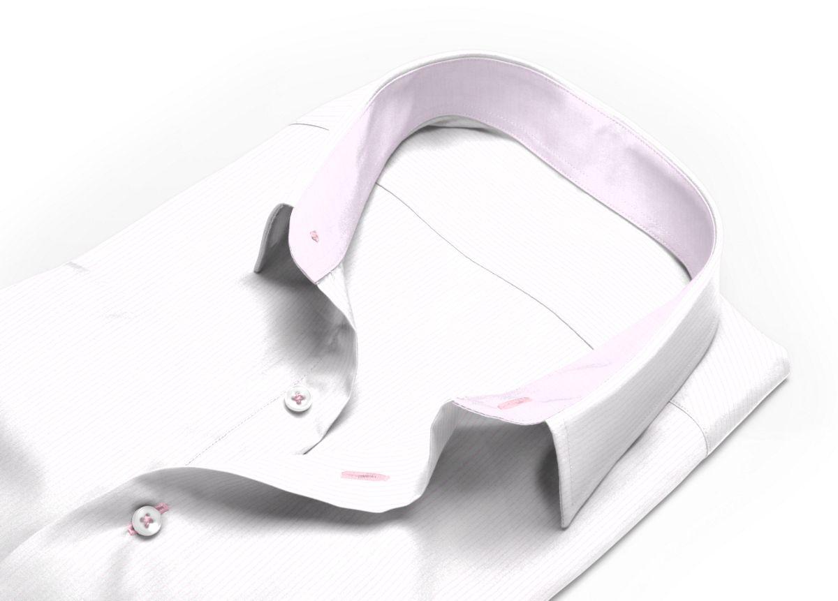 Chemise Col italien ouvert rose, Blanc popeline