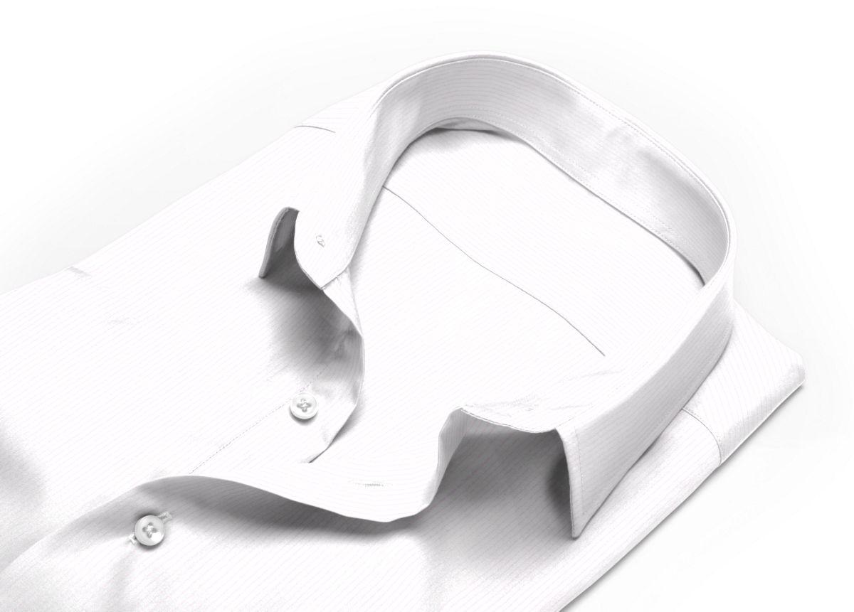 Chemise homme sur mesure col italien ouvert rose, blanc rayé