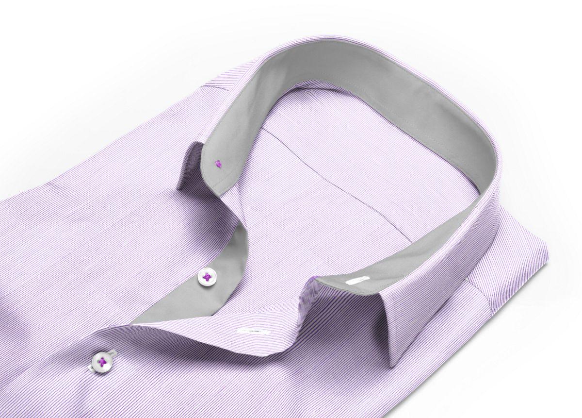 Chemise Col italien très ouvert violet, Blanc popeline