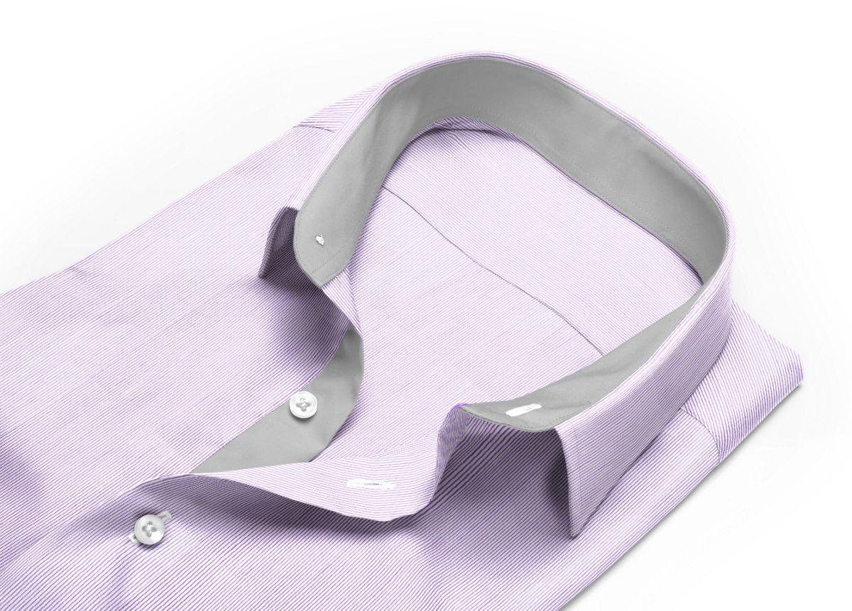 Chemise Col italien violet, Blanc popeline