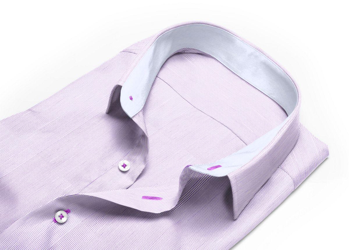 Chemise homme sur mesure mini col violet, blanc rayé