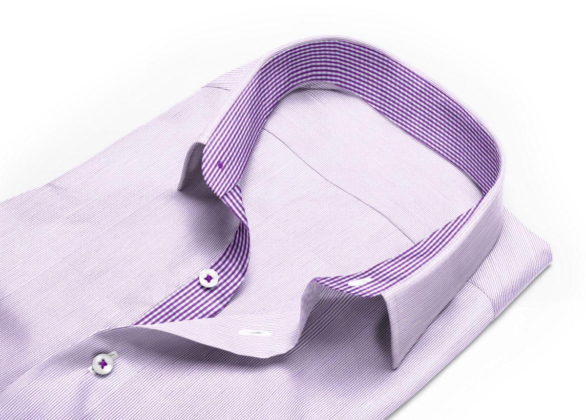 Chemise homme sur mesure col indien à rabats extérieurs violet, blanc rayé