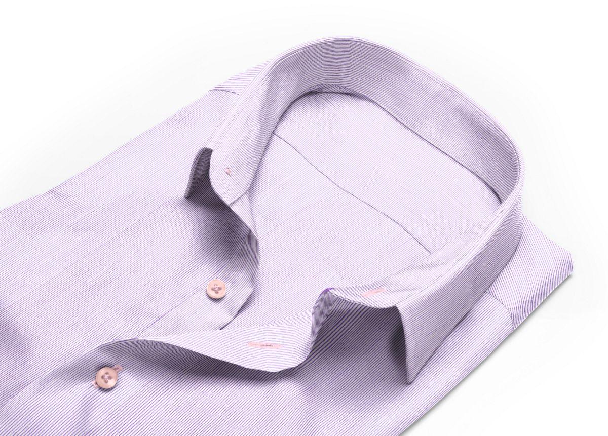 Chemise homme sur mesure col classique violet, blanc rayé