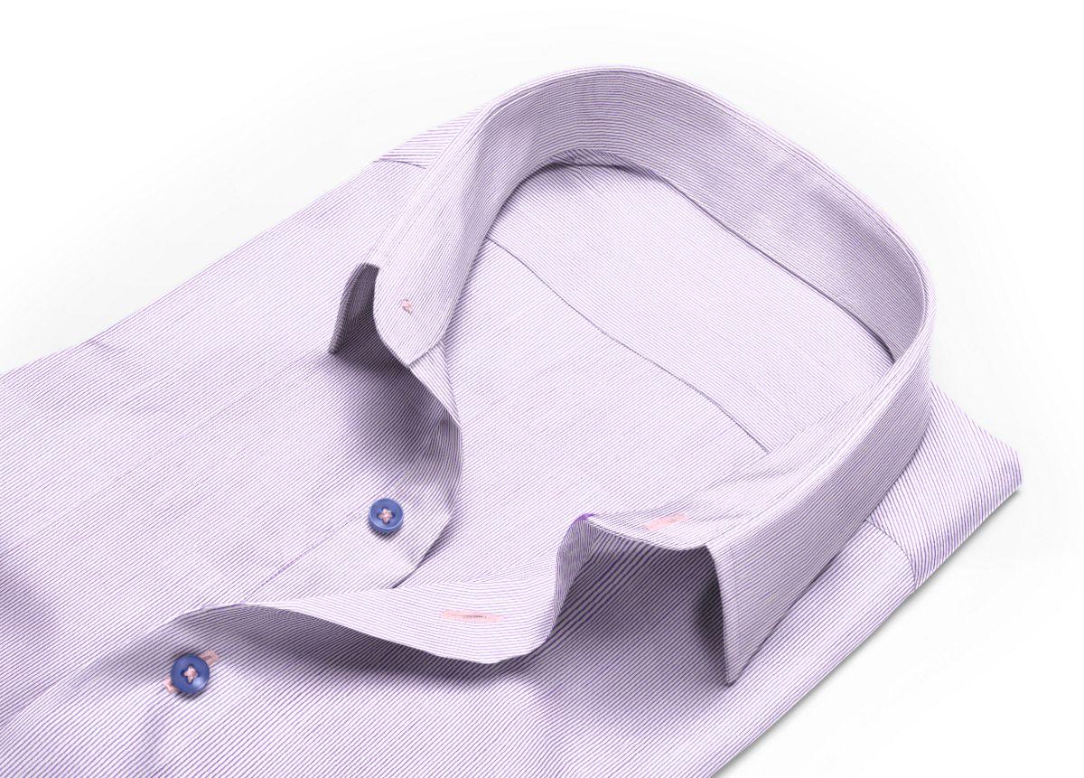 Chemise Col italien ouvert violet, Blanc popeline