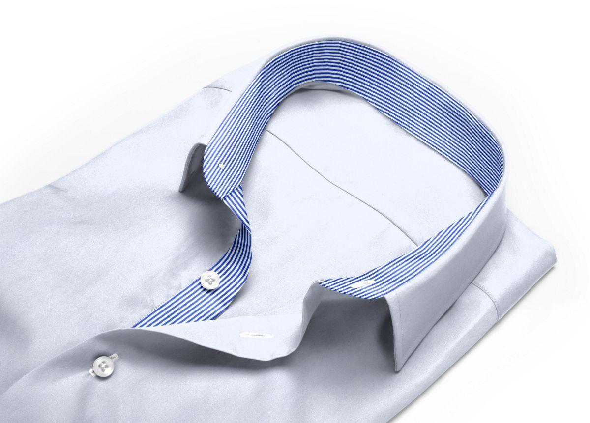 Chemise homme sur mesure col boutonné sous patte blanc uni