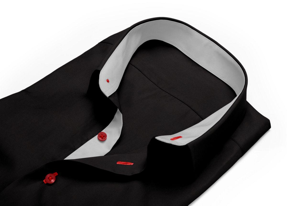 Chemise Col boutonné sous patte noir popeline