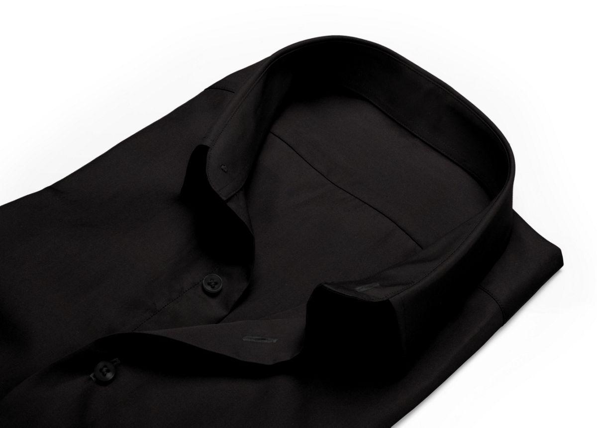 Chemise Col italien noir popeline