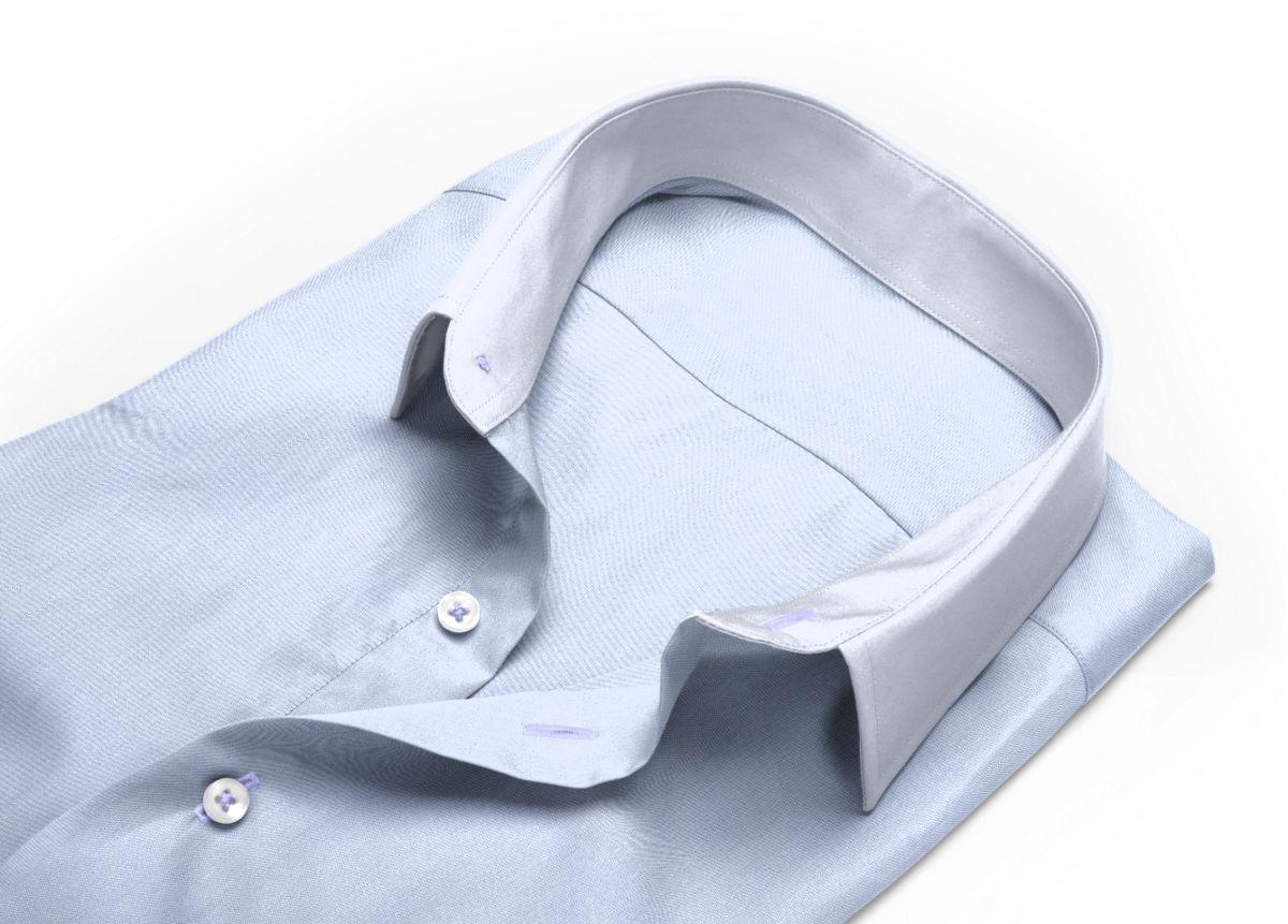 Chemise homme sur mesure col italien bleu ciel, bleu uni