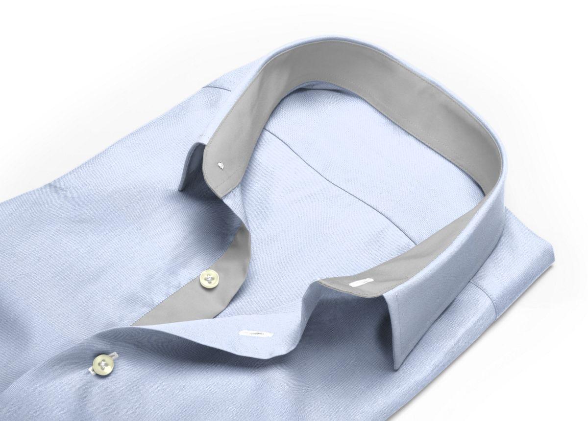 Chemise homme sur mesure col italien ouvert bleu ciel, bleu uni