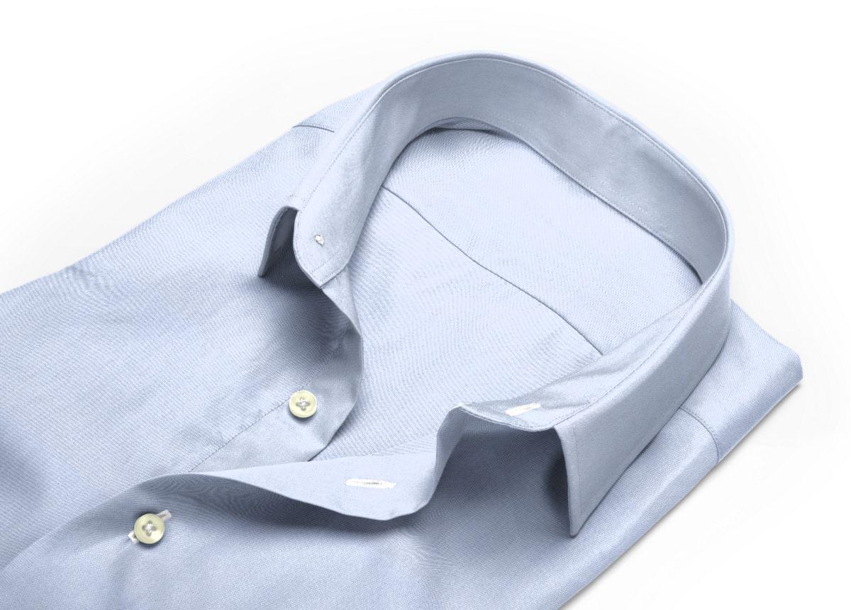 Chemise homme sur mesure col boutonné bleu ciel, bleu uni