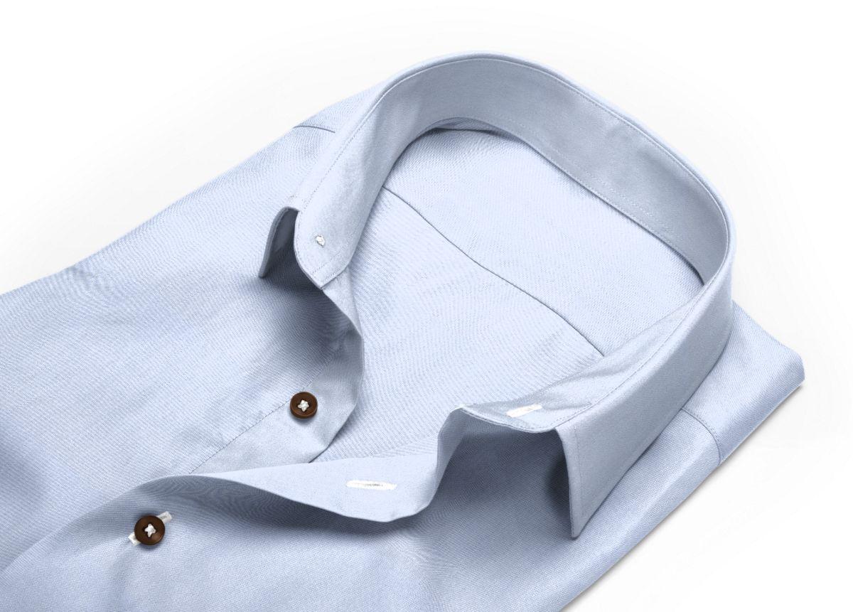 Chemise mini col bleu ciel, bleu twill