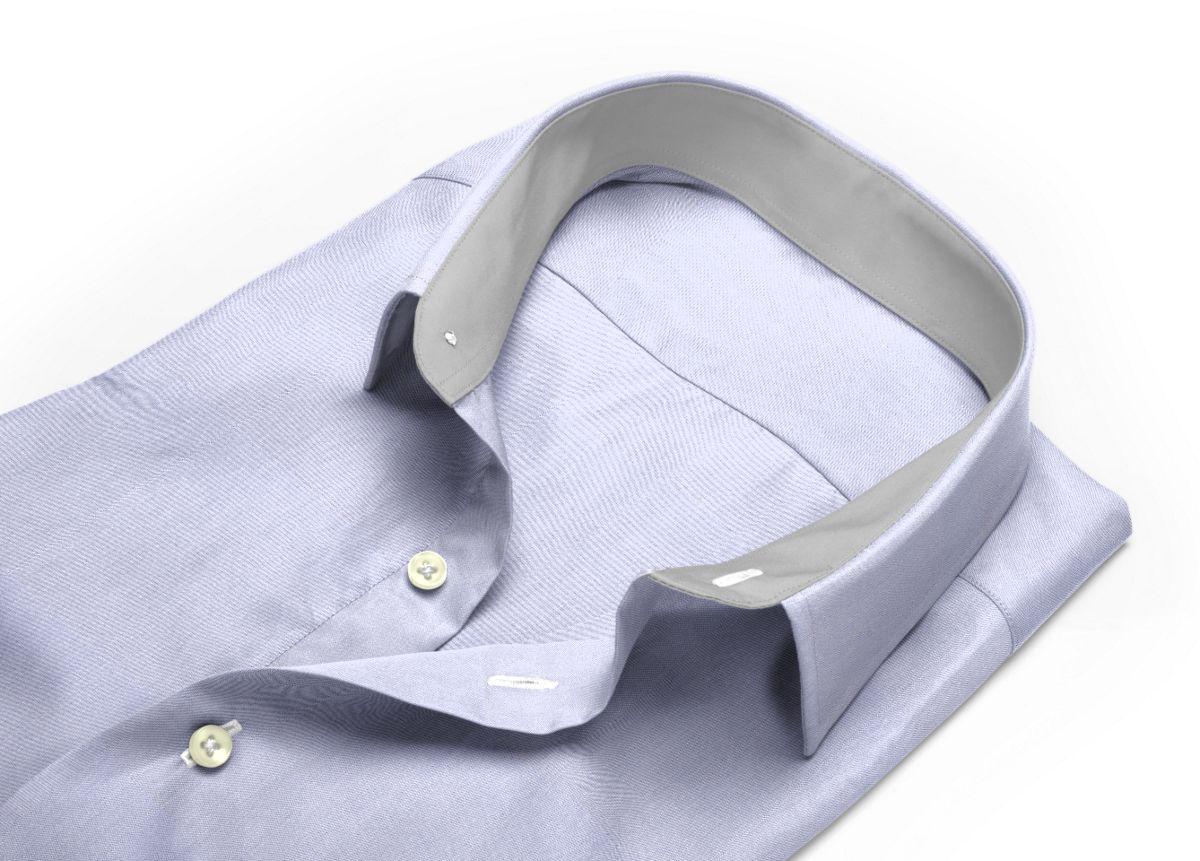 Chemise homme sur mesure col boutonné sous patte mauve uni