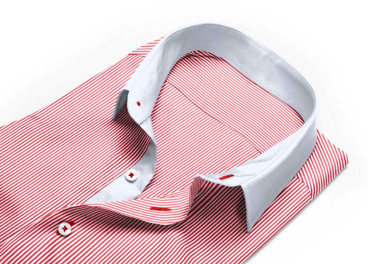 Chemise Petit col classique rouge, Blanc popeline