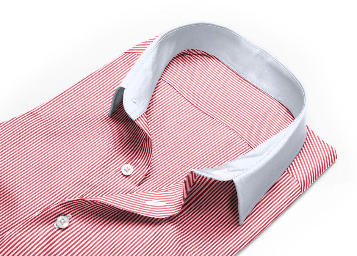 Chemise homme sur mesure col anglais rouge, blanc rayé