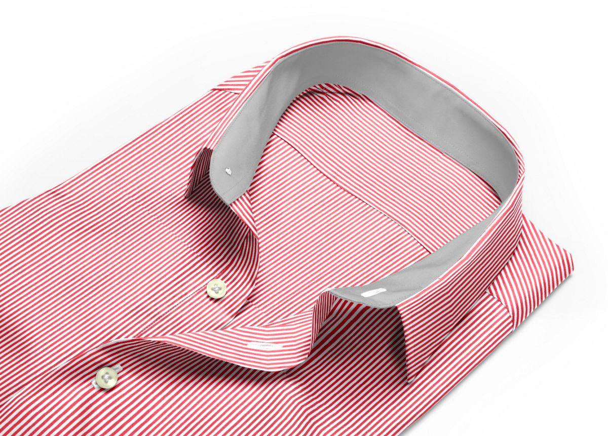Chemise homme sur mesure col italien rouge, blanc rayé