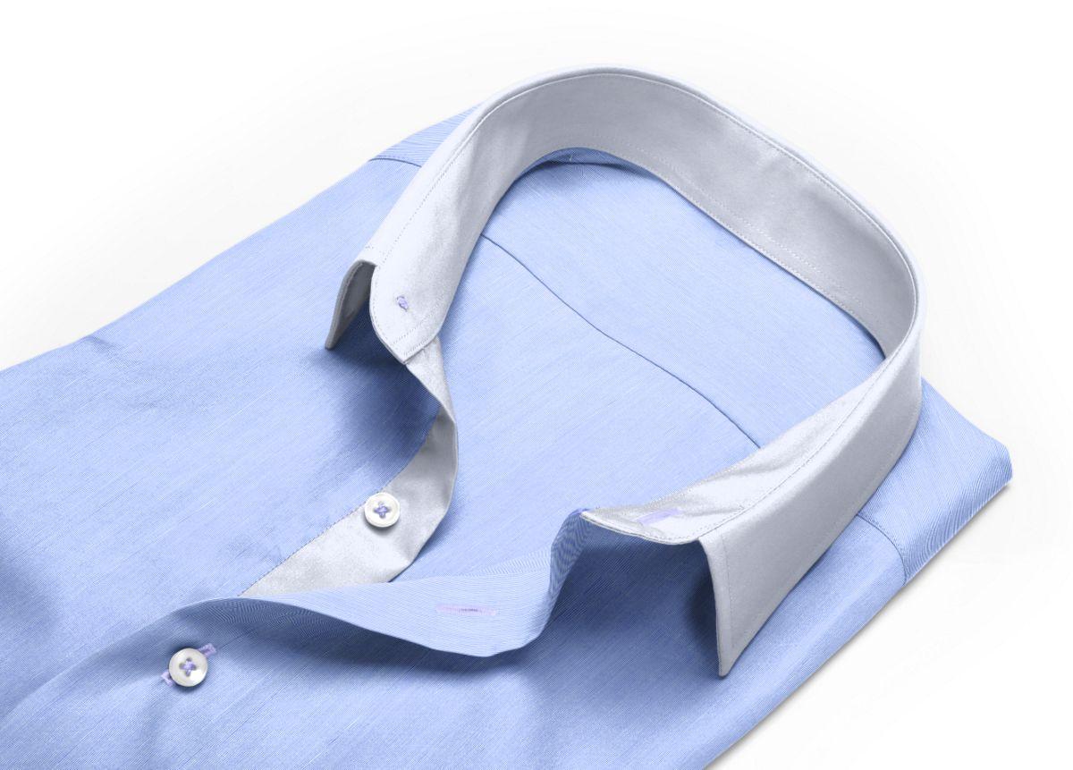 Chemise Col classique bleu fil à fil