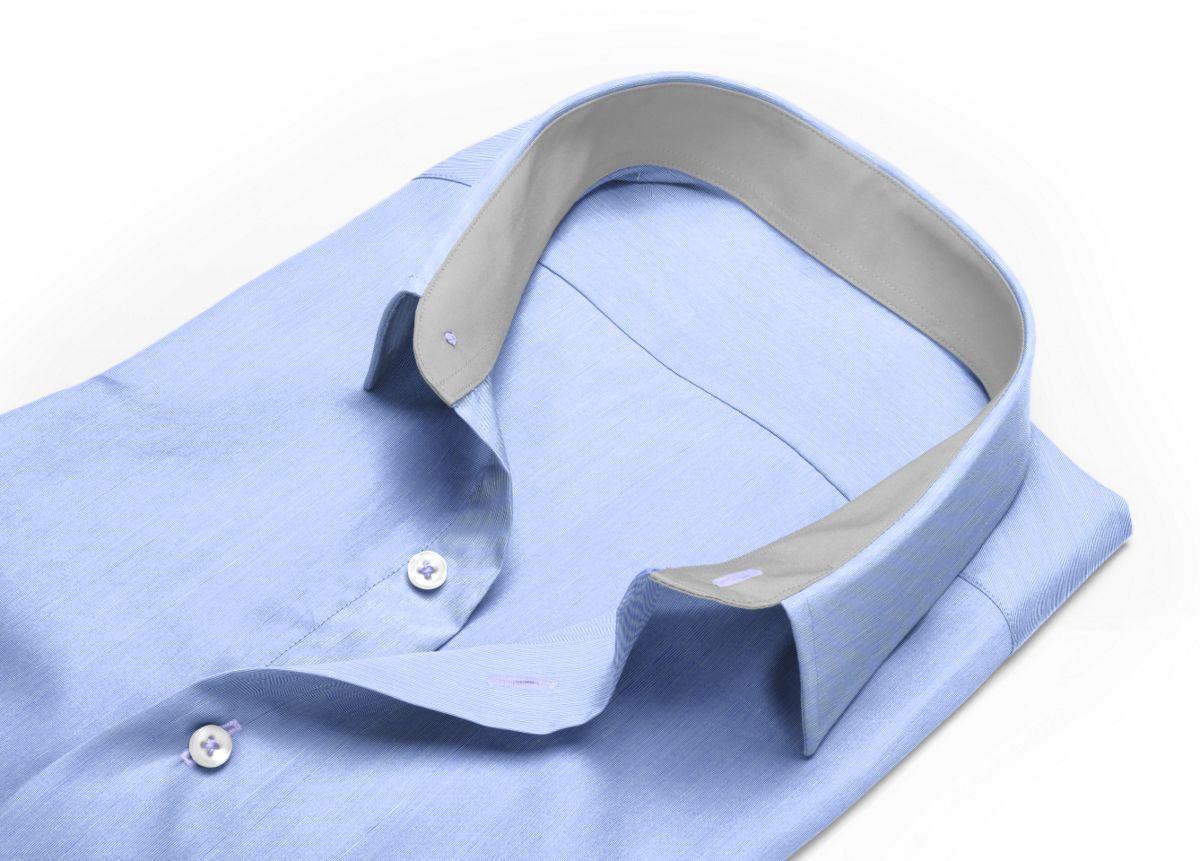 Chemise Col italien bleu fil à fil