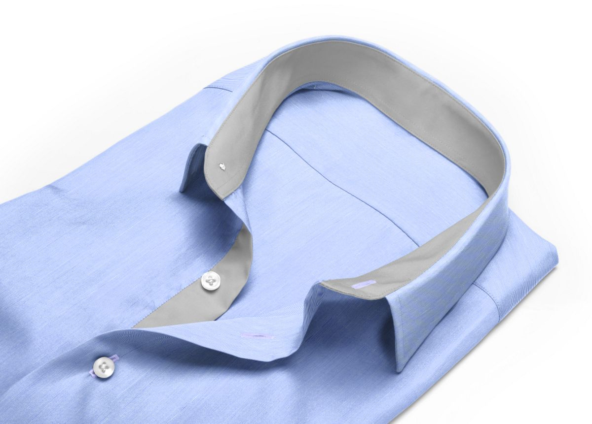 Chemise Col boutonné sous patte bleu fil à fil
