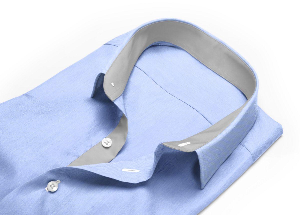 Chemise Col anglais rond bleu fil à fil