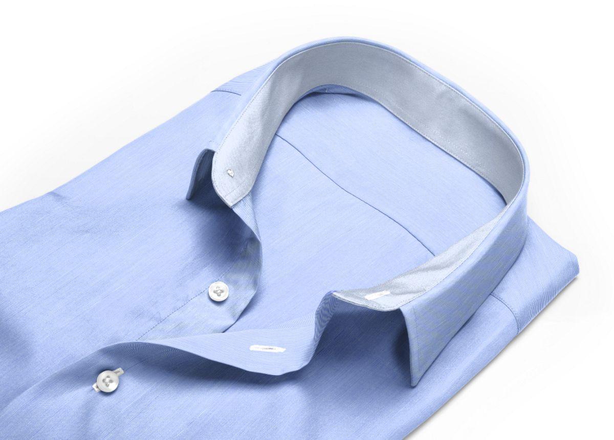 Chemise Col cassé bleu fil à fil