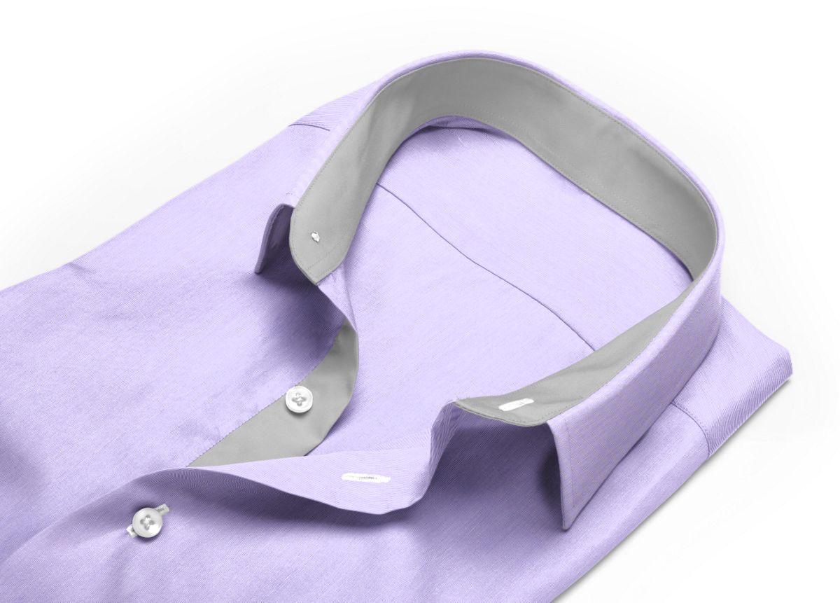 Chemise homme sur mesure col italien violet uni