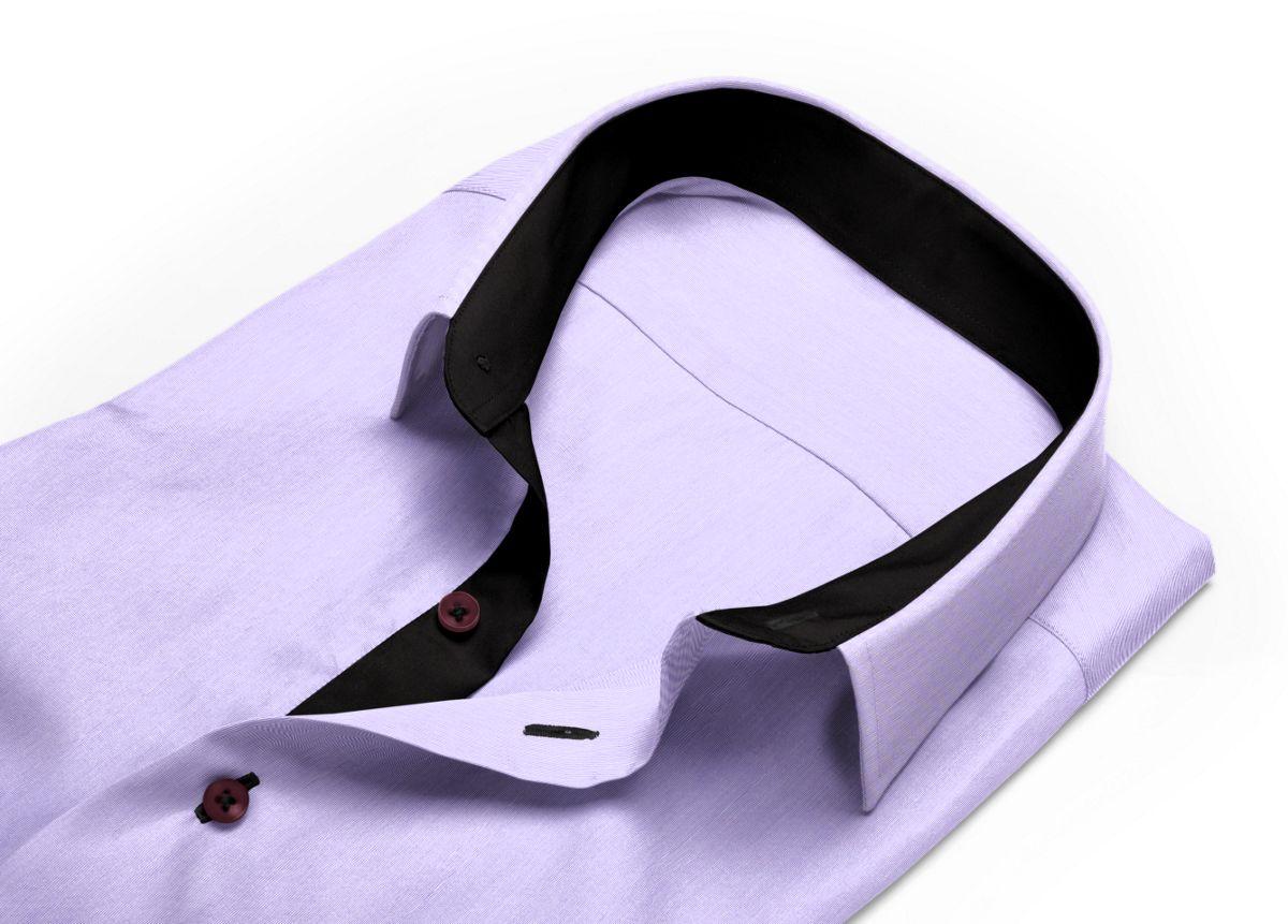 Chemise Col italien ouvert violet fil à fil