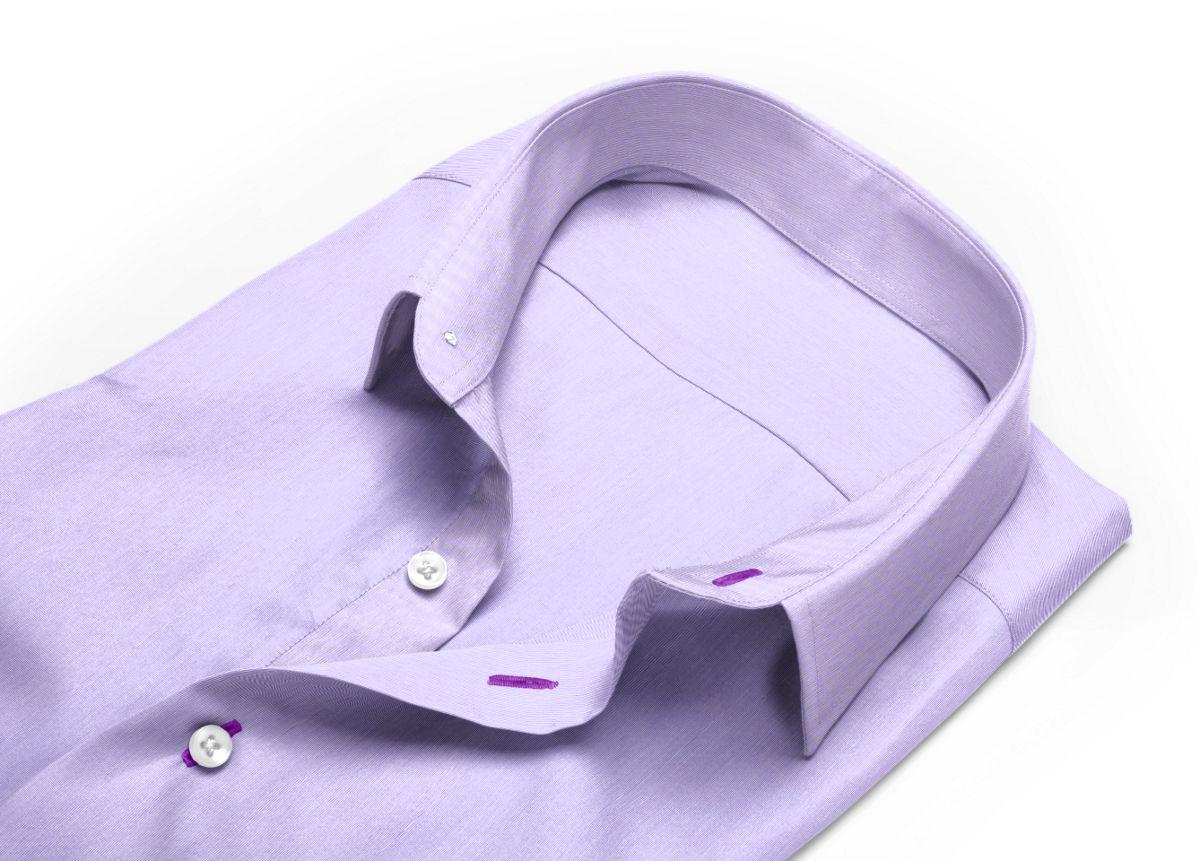 Chemise Col boutonné sous patte violet fil à fil