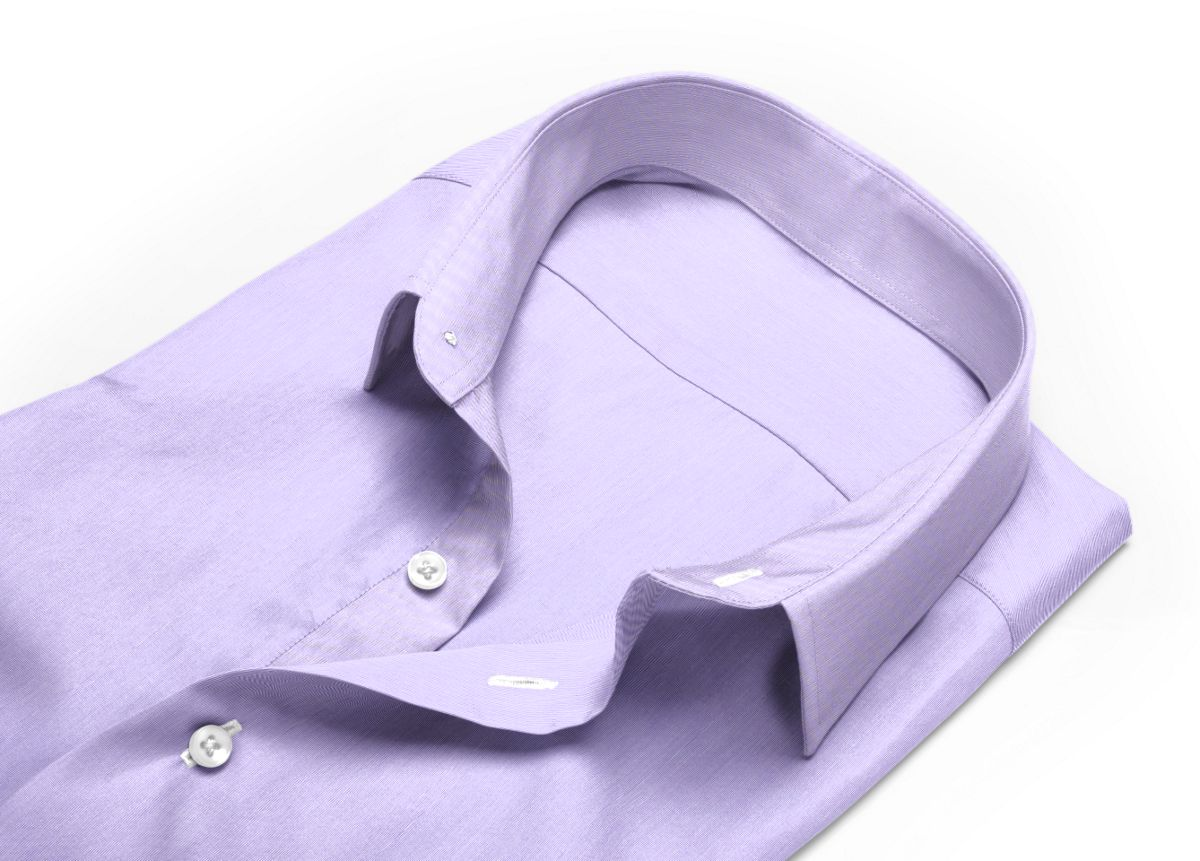 Chemise homme sur mesure petit col classique violet uni