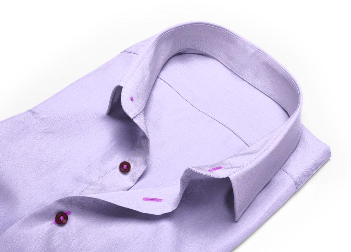 Chemise Col anglais rond violet fil à fil