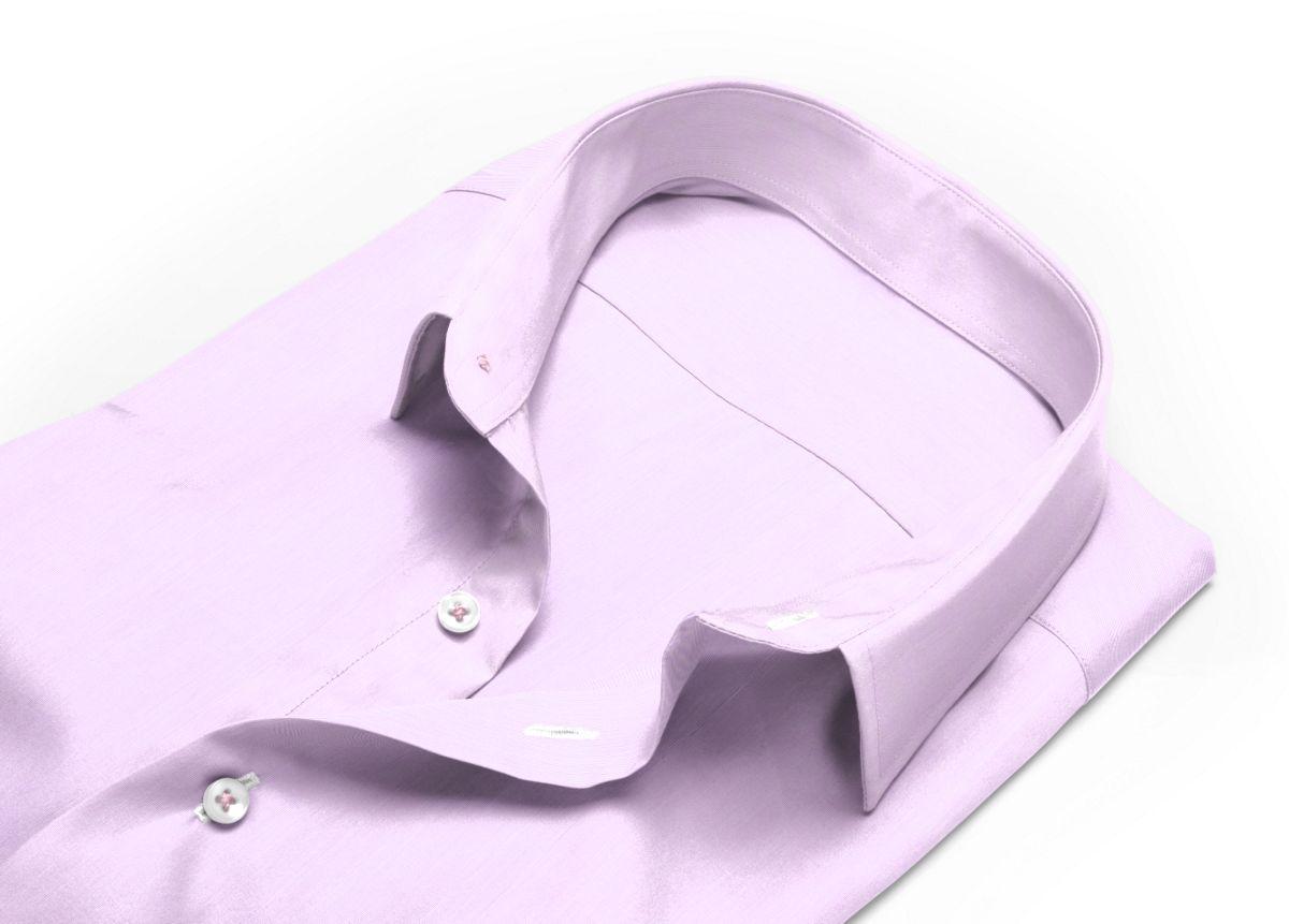 Chemise Col italien mauve fil à fil