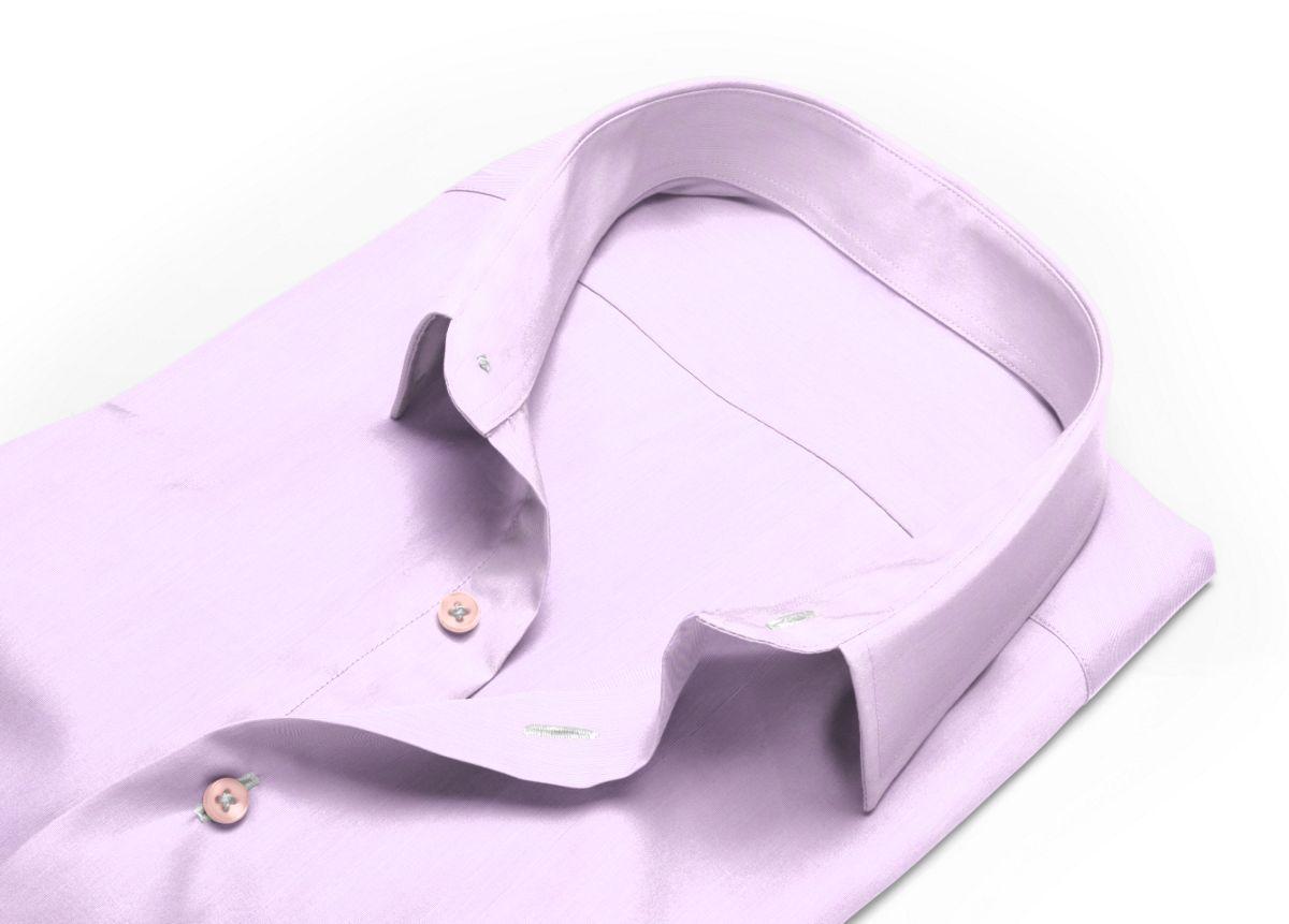 Chemise mini col mauve fil à fil