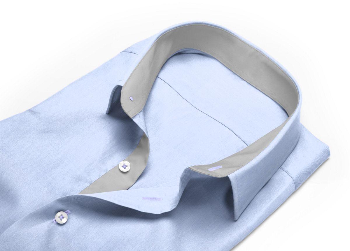 Chemise homme sur mesure col boutonné gris, gris clair uni