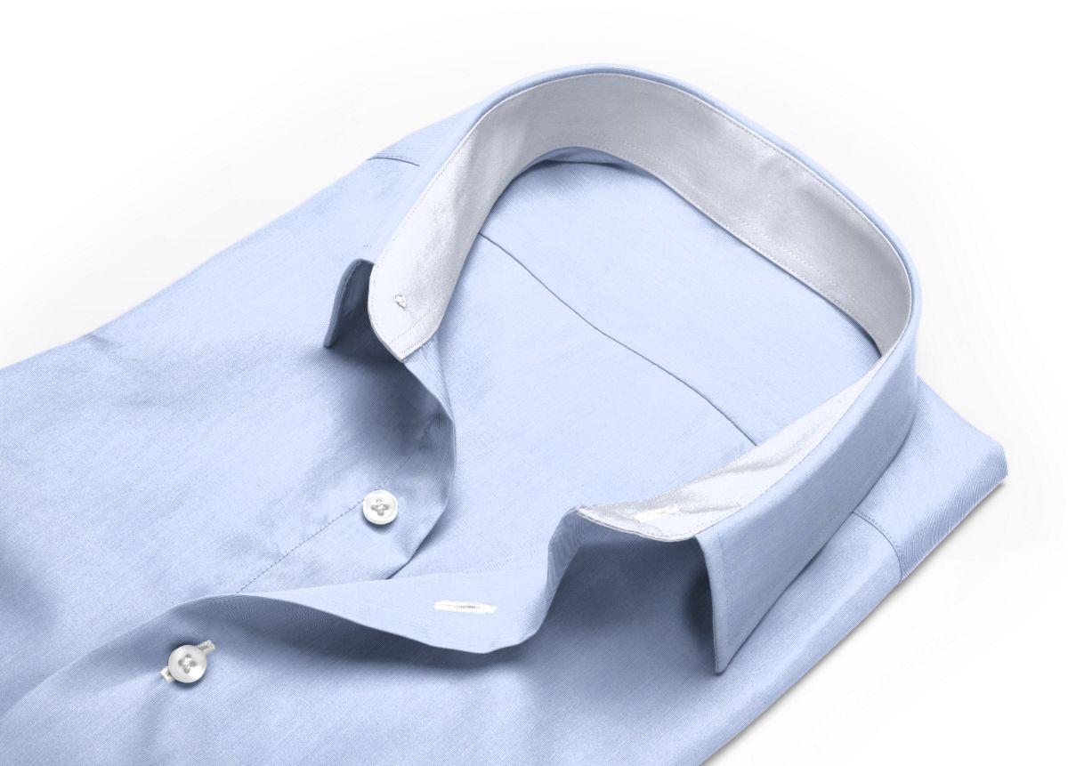 Chemise Grand col classique gris, gris clair fil à fil