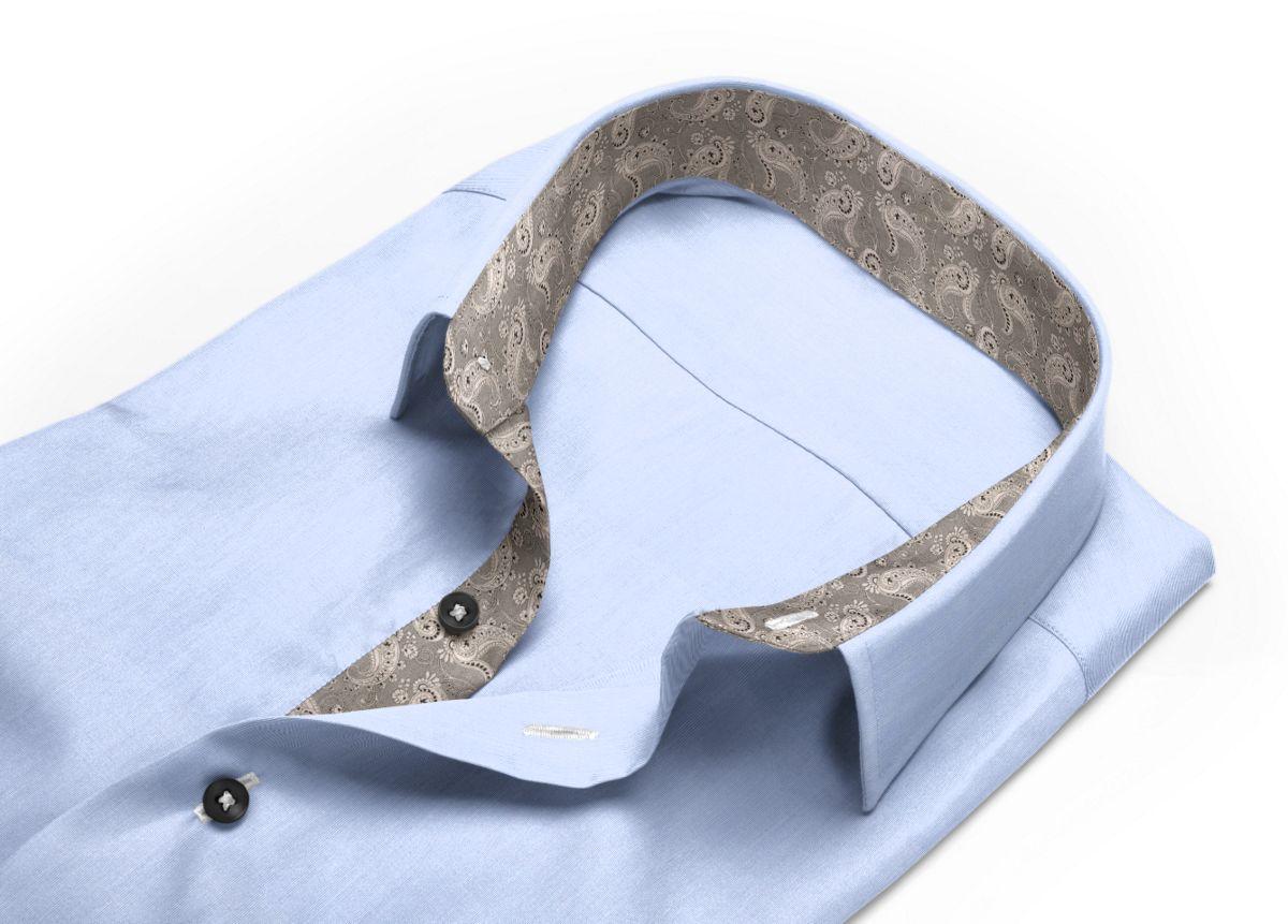 Chemise homme sur mesure col italien gris, gris clair uni