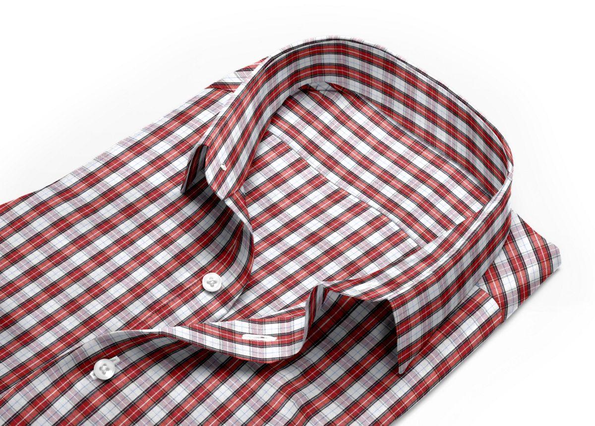 Chemise homme sur mesure col italien  carreaux