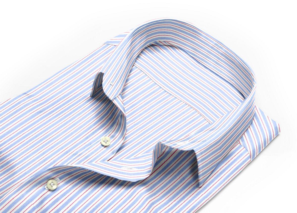 Chemise homme sur mesure col boutonné  rayé