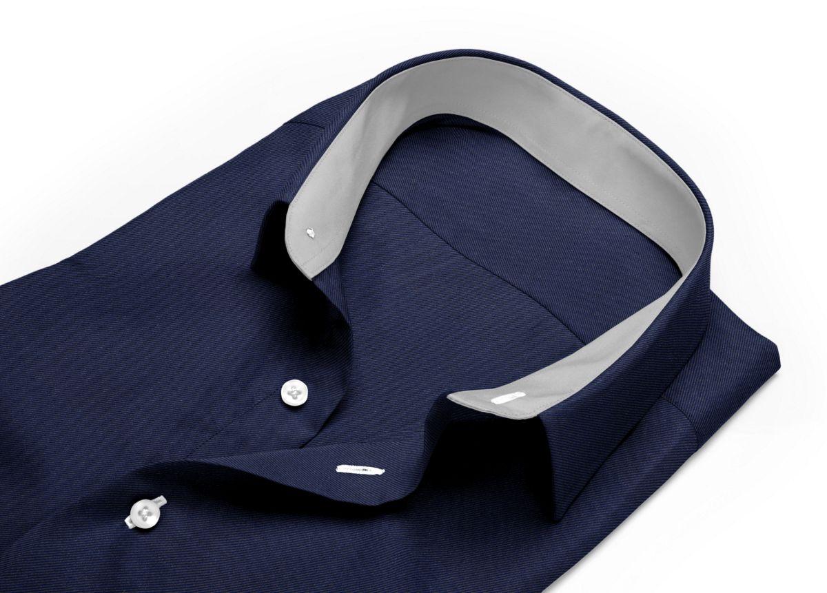Chemise homme sur mesure col italien bleu, bleu foncé uni