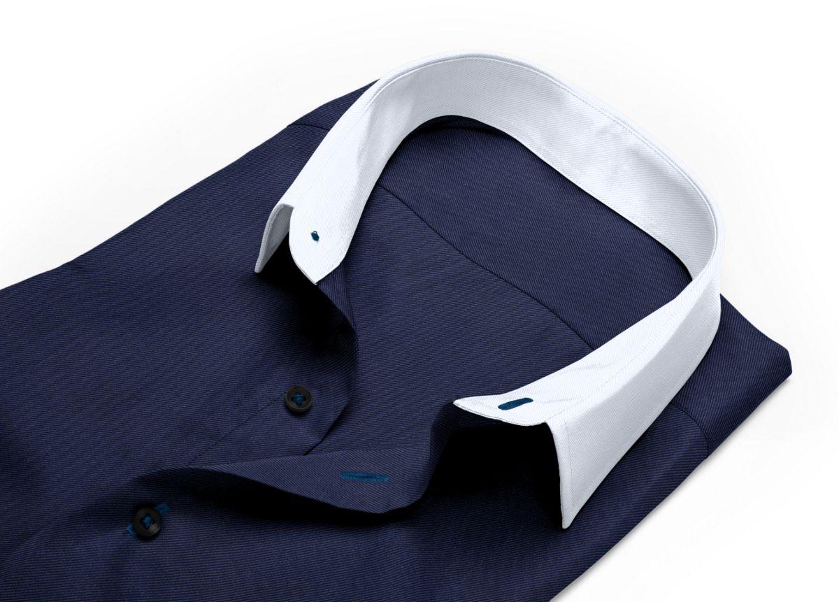 Chemise Col italien bleu, bleu foncé twill