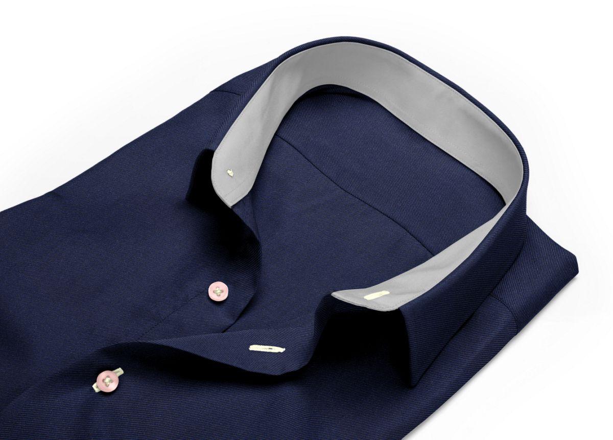 Chemise mini col boutonné bleu, bleu foncé twill