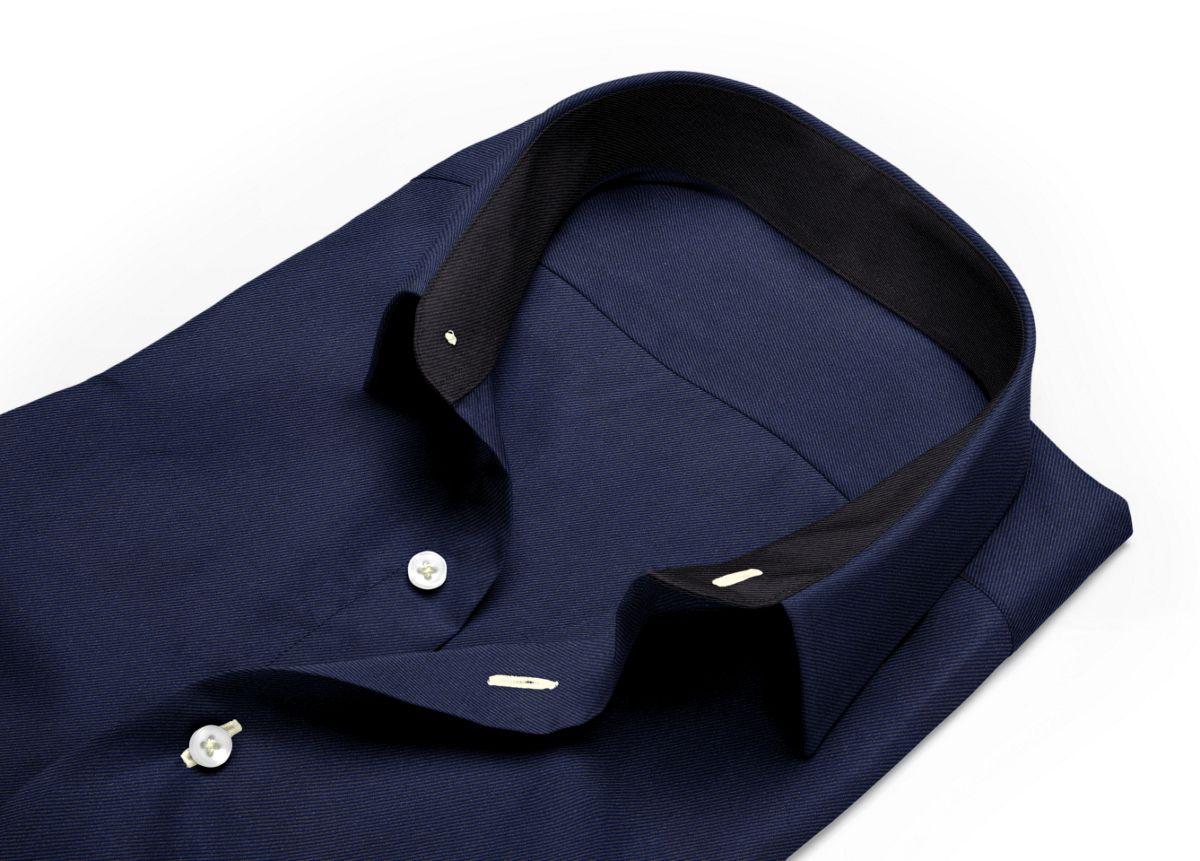 Chemise Grand col classique bleu, bleu foncé twill
