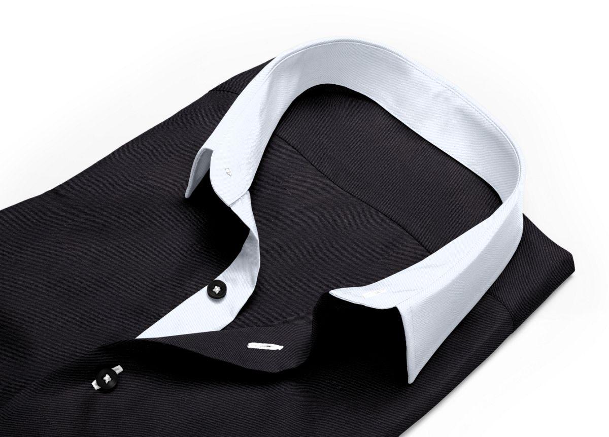 Chemise homme sur mesure col inversé noir uni
