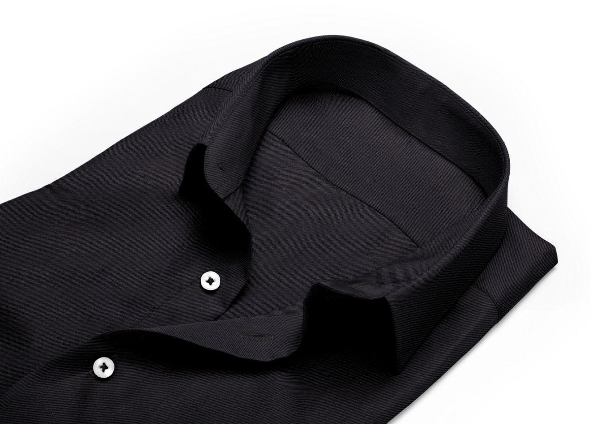 Chemise homme sur mesure petit col classique noir uni