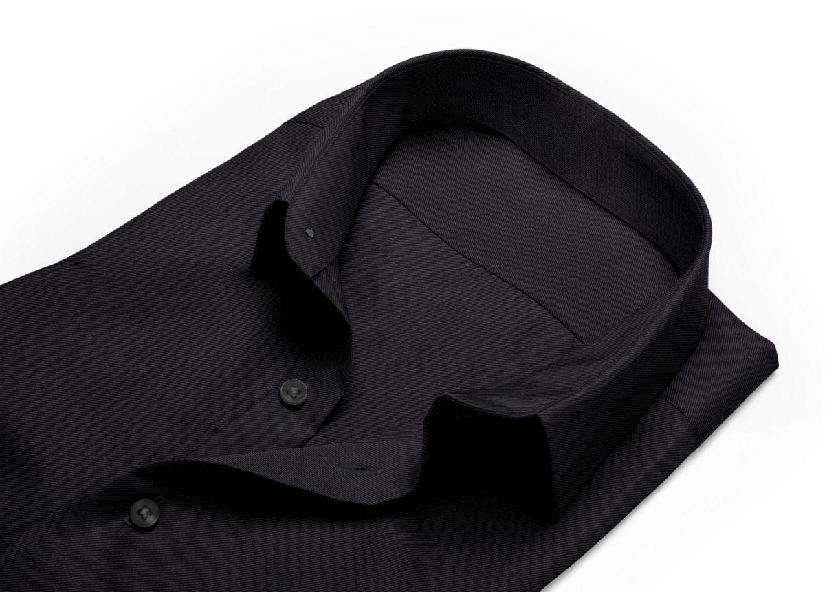 Chemise homme sur mesure col italien noir uni